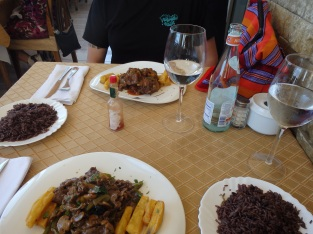 Beef dish and ox tails with sweet potato and black rice