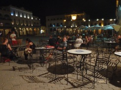 One of the plazas at night