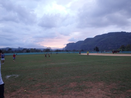 View from baseball field at sunset